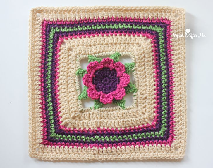 FlowerSquareCAL4 | Granny Square | Pinterest
