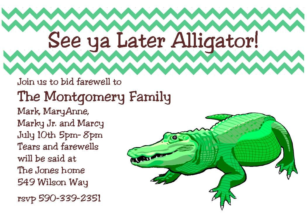 Going Away Party Invitations see ya later alligator – Farewell Party Invitation Quotes