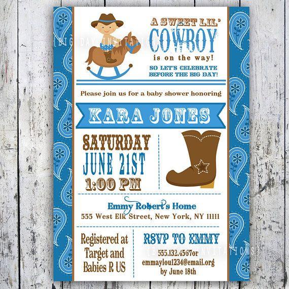 Lil Cowboy Baby Shower Invitation Custom Printable Boy Invite
