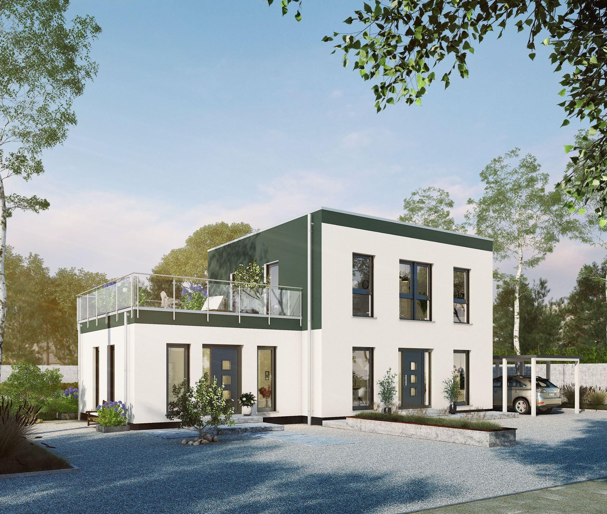 Moderner Stadtvillen-Entwurf mit großer Dachterrasse von OKAL | Neue ...
