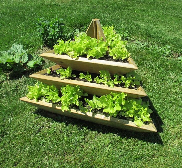 3 Level Plant Pyramid Vertical Vegetable Garden Vertical Herb Garden Cedar Vertical Garden
