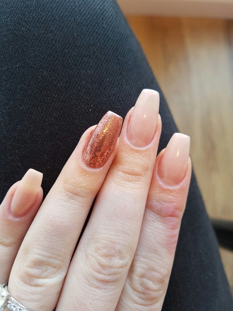 Rose gold glitter nails natural ballerina square coffin nude ombre ...