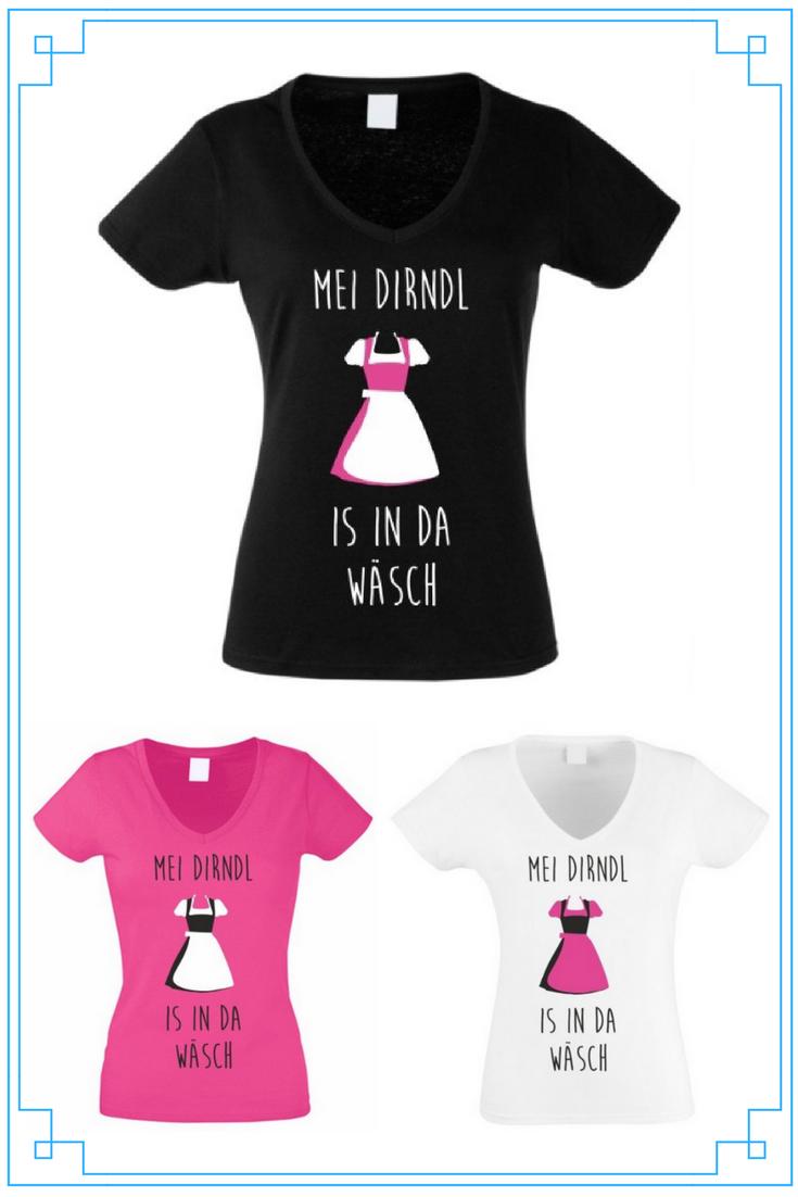 Damen V-NECK T-Shirt Oktoberfest Wo zum Deifi is mei Dirndl Wiesn Outfit