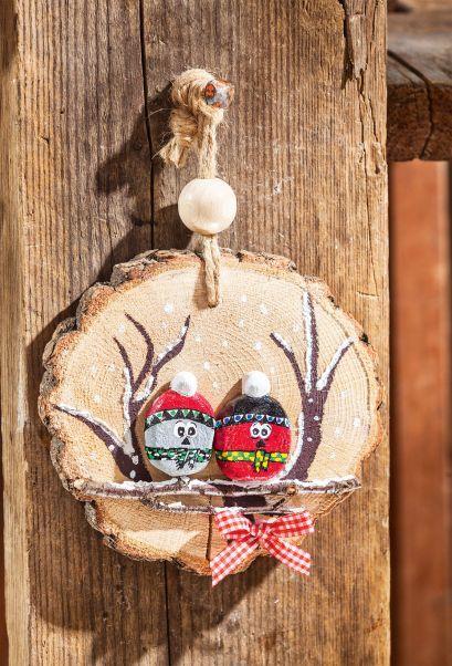 Jolies décorations de Noël en rondelles de bois et