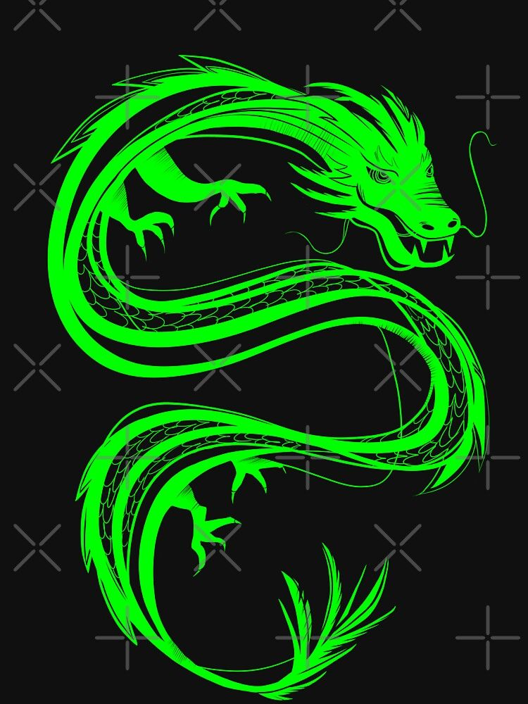 Neon Green Chinese Dragon T Shirt By Acatalepsys Redbubble Green Aesthetic Tumblr Neon Green Dark Green Aesthetic Cool green dragon wallpapers