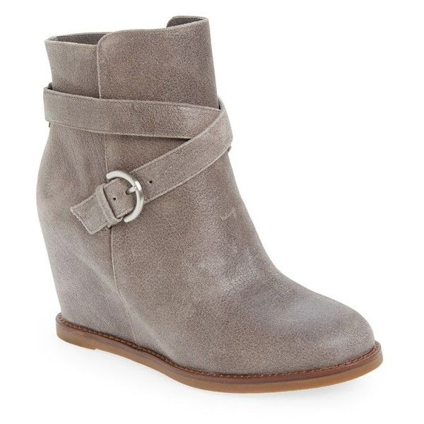 """Johnston & Murphy 'Brynn' WedgeBootie, 3"""" heel ($180) ❤ liked on Polyvore featuring shoes, boots, ankle booties, ankle boots, charcoal waxed calfskin, wedge booties, high heel boots, hidden wedge bootie, hidden wedge booties and strappy ankle boots"""