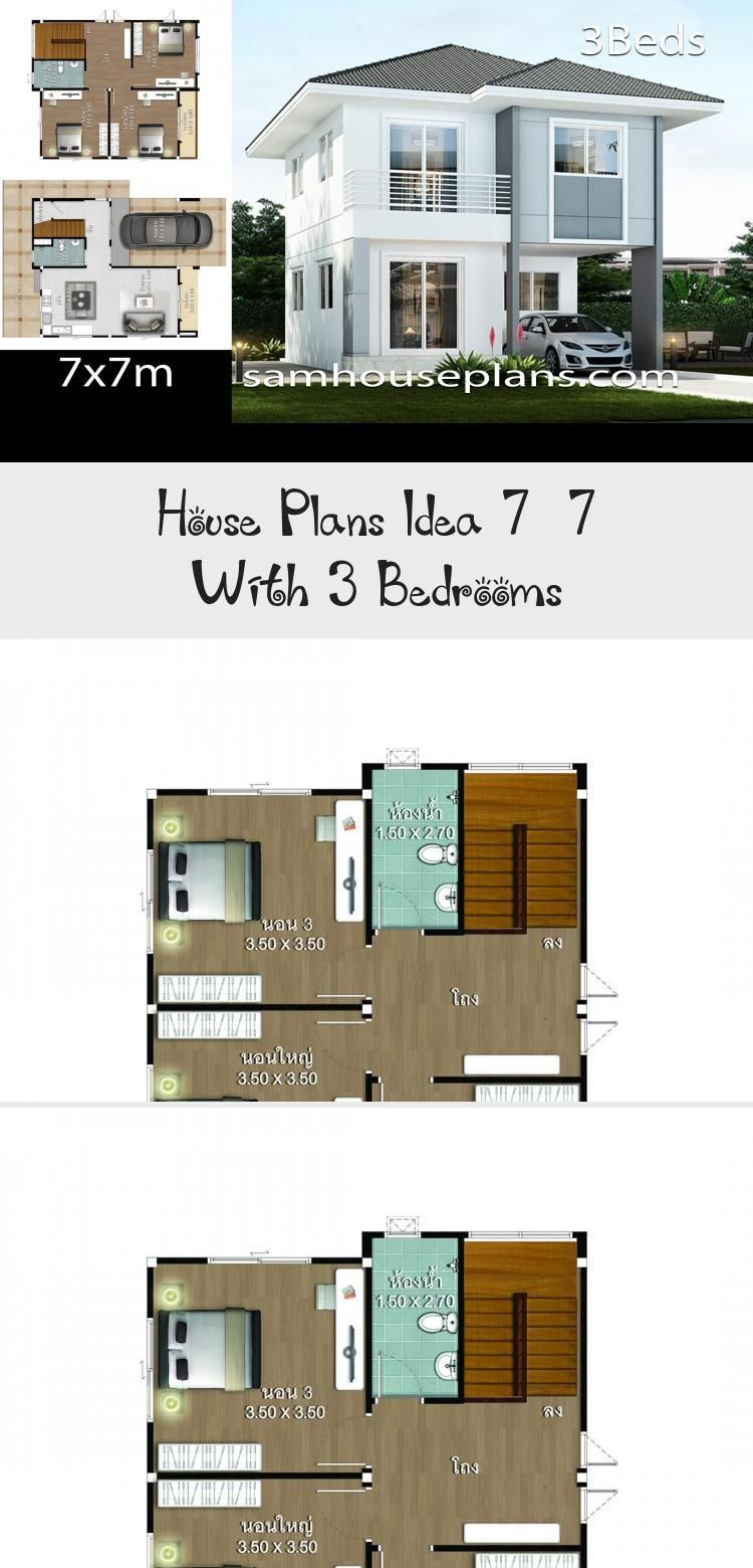 House Plans Idea 7x7 With 3 Bedrooms Sam House Plans Smallhouseplans500sqft Smallhouseplan In 2020 Small House Plans Unique Small House Plans Courtyard House Plans