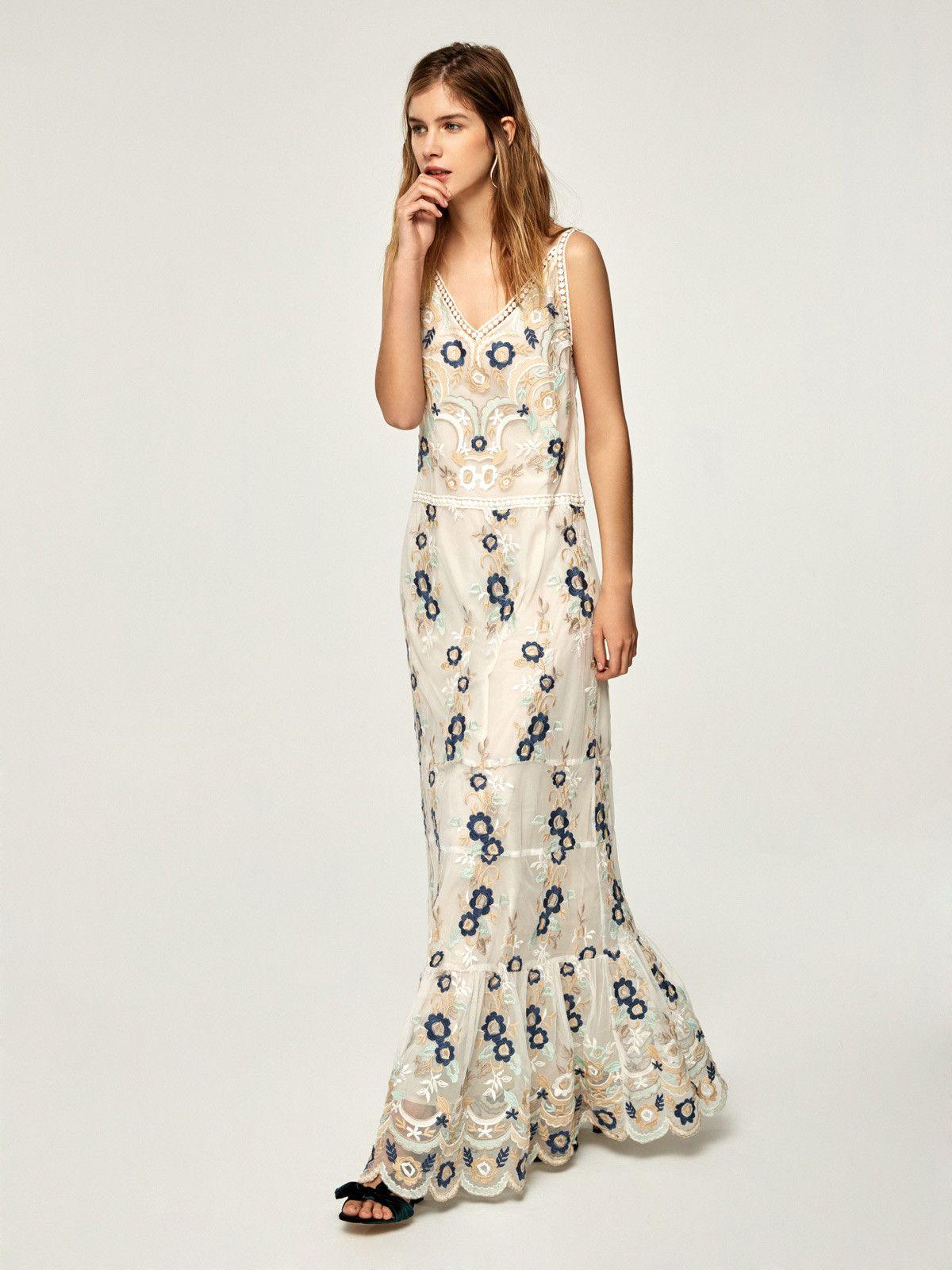 0e89283e63e PALERMO - Vestido largo tirantes tul bordado flores en mioh.eu
