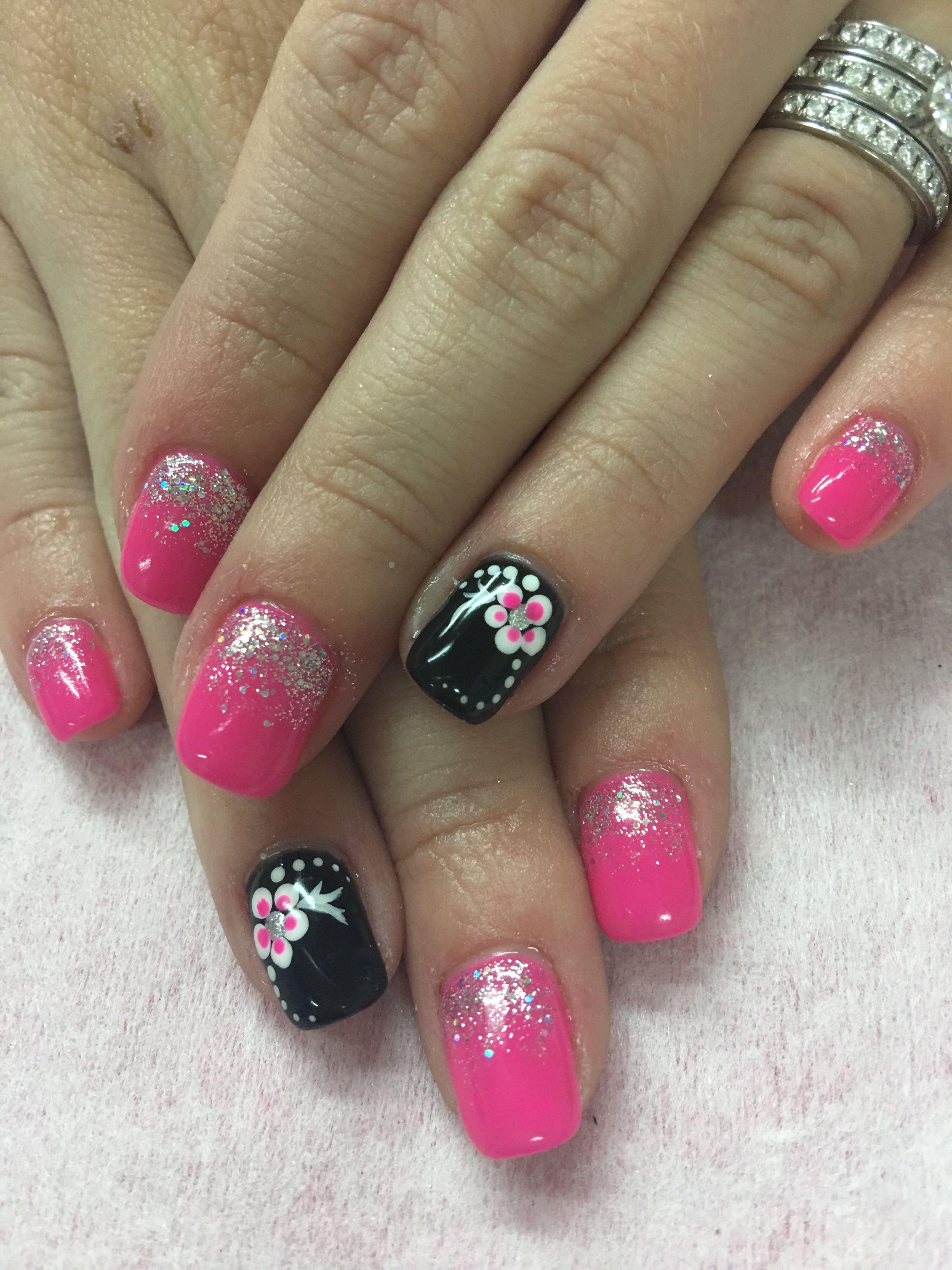 Hot Pink Black Flower Glitter Ombre Gel Nails Ombre Gel Nails Pink Nails Nail Designs Hot Pink