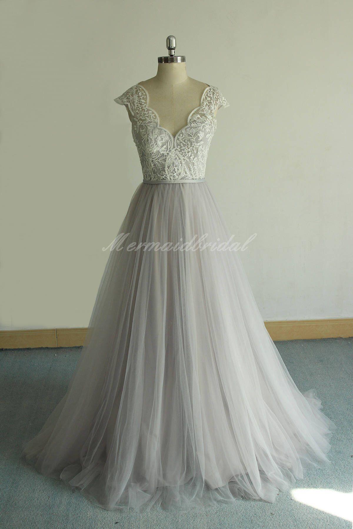 Romantic bohemian wedding dressscallop neckline outdoor wedding
