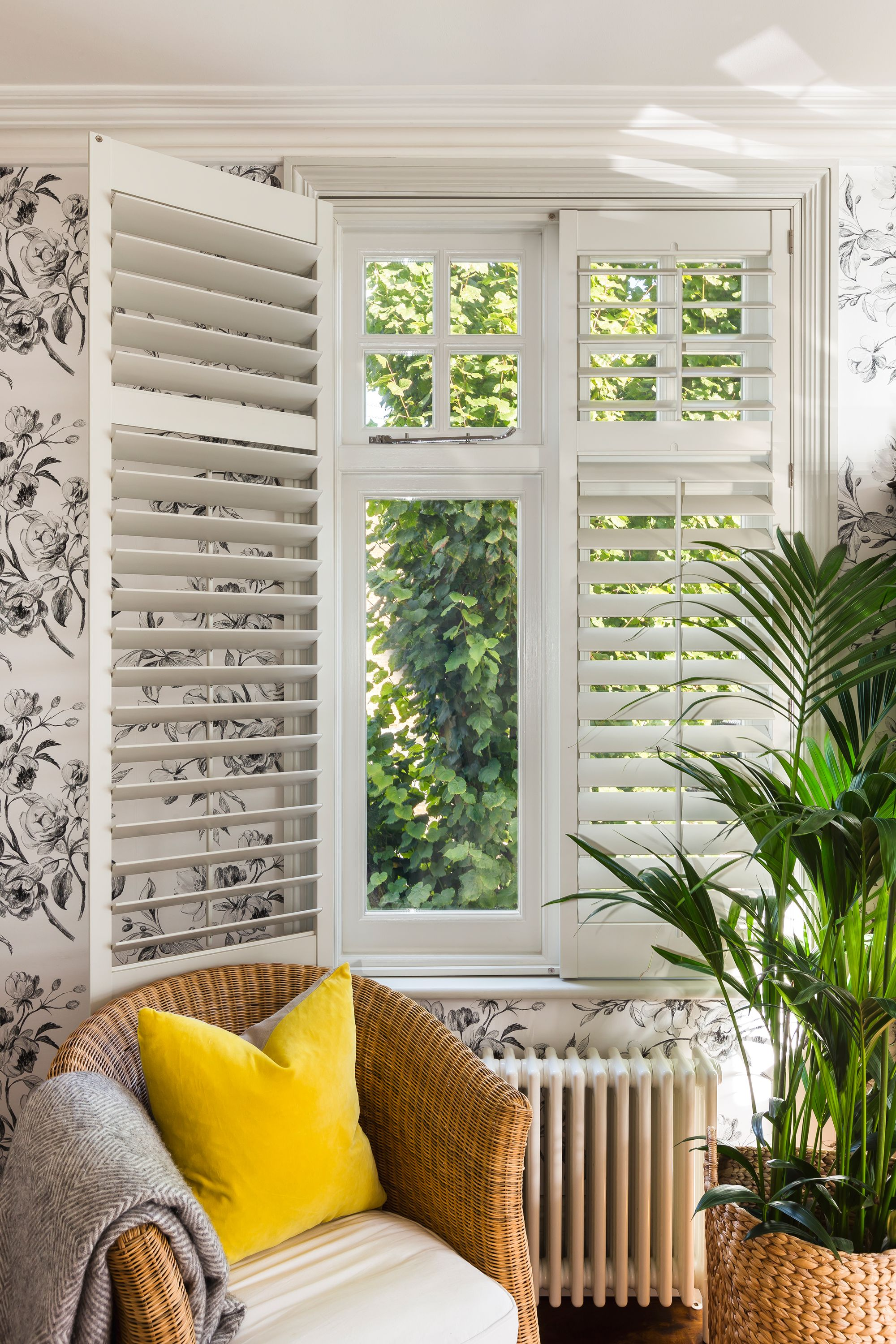 A Modern Country Home in Barnes shutters livingroom