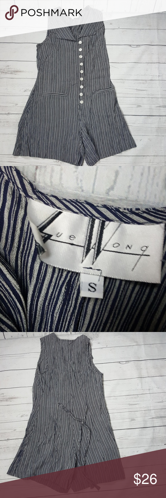Sue Wong romper Sue wong rumper,button down, tie back, striped Sue Wong Shorts