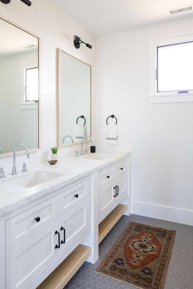 Modern Farmhouse Bathroom With Double Vanity Cabinets Are Shaker