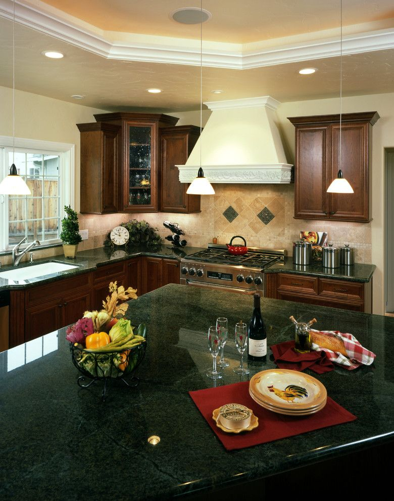 Green Granite Countertop Kitchen Traditional With Carved Moulding Cherry  Cherry