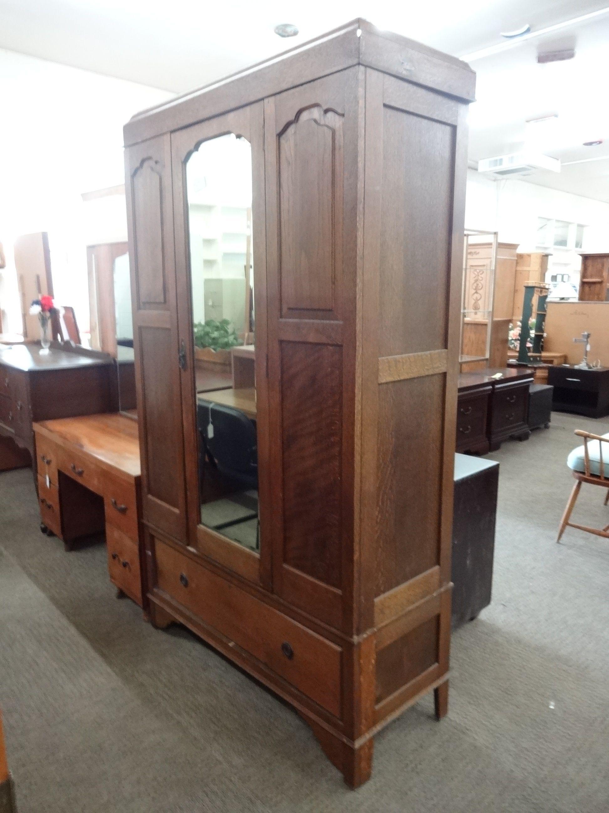 Early 1900s Clothing Wardrobe 8324 Dark Oak Original Beveled Mirror Removable Shelving