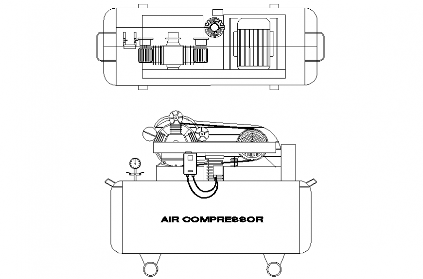 Air compressor for air condition side and top view