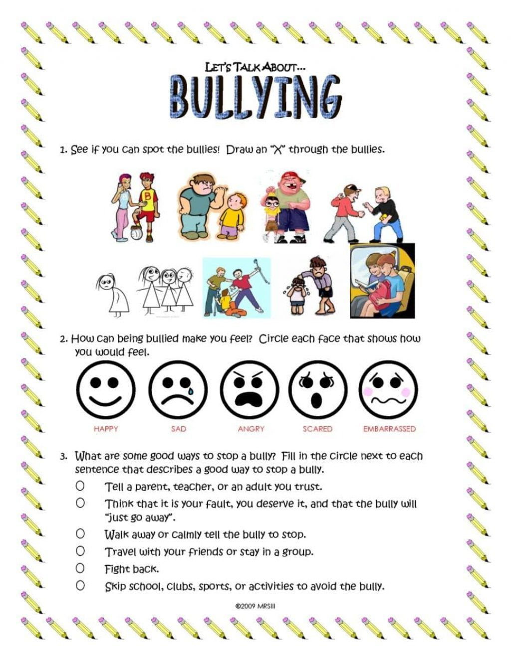 Worksheets On Bullying For Middle School Students And Free