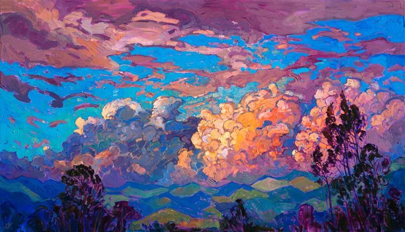 Modern Impressionism Oil Painting Of San Diego Clouds By American