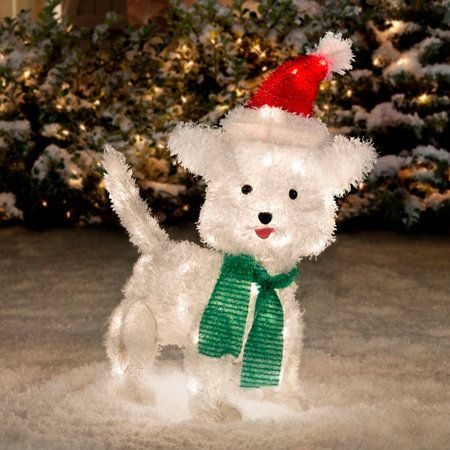 White Furry Dog Christmas Decoration-22