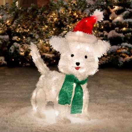 White Furry Dog Christmas Decoration-22