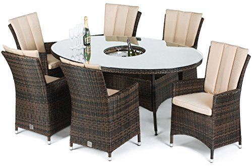 Maze Rattan LA Seat Oval Dining Set With A Luxury Cm X Cm - 6 seat oval dining table