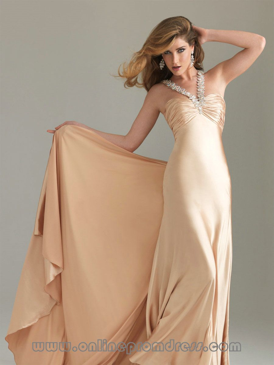 Satin buy champagne prom dress online hot irelandg