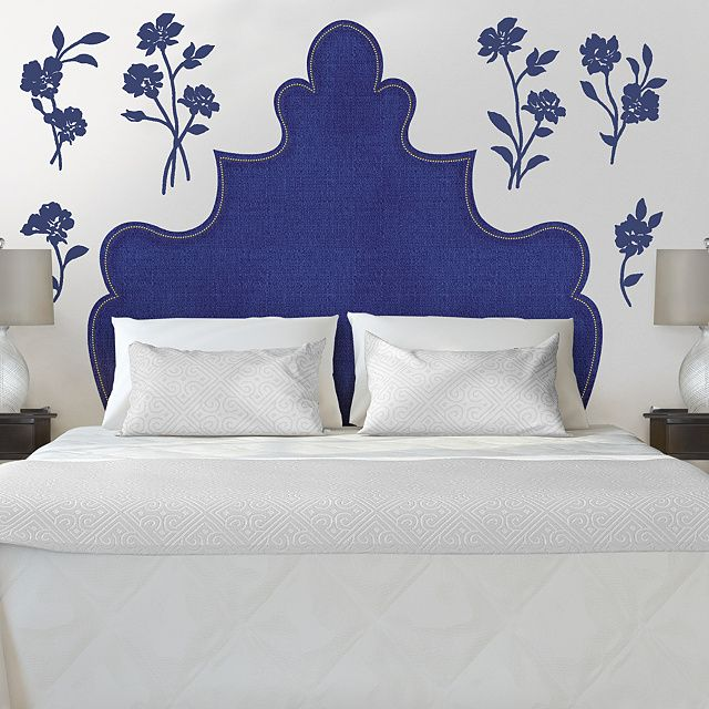 Fathead Wall Decals and Decor | Shop Vinyl Wall Decals & Shaped Headboard with Flowers Wall Decal | Martha Stewart Wall Art ...
