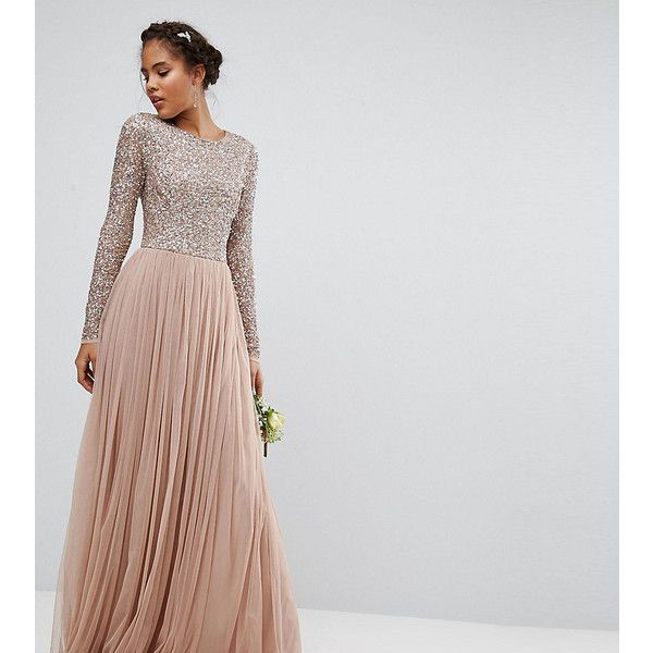 Maya Tall Long Sleeved Maxi Dress with Delicate Sequin and Tulle ...