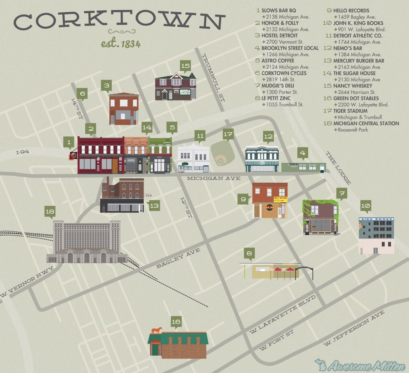 map of corktown detroit Illustrated Map Of Corktown Corktown Detroit History Detroit City map of corktown detroit