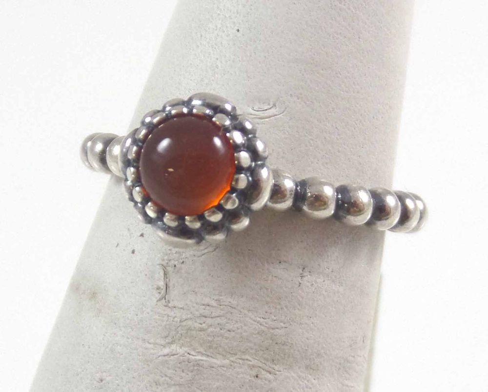 Vintage Pandora 925 Sterling Silver Solitaire Carnelian Ring Sz 5 (3.3g) 457679 #Pandora #Solitaire
