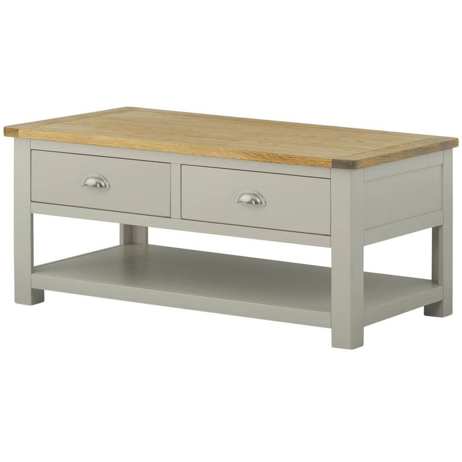 Portland Stone Grey Painted Coffee Table With Drawers Oak World Coffee Table With Drawers Coffee Table Classic Home Furniture [ 900 x 900 Pixel ]