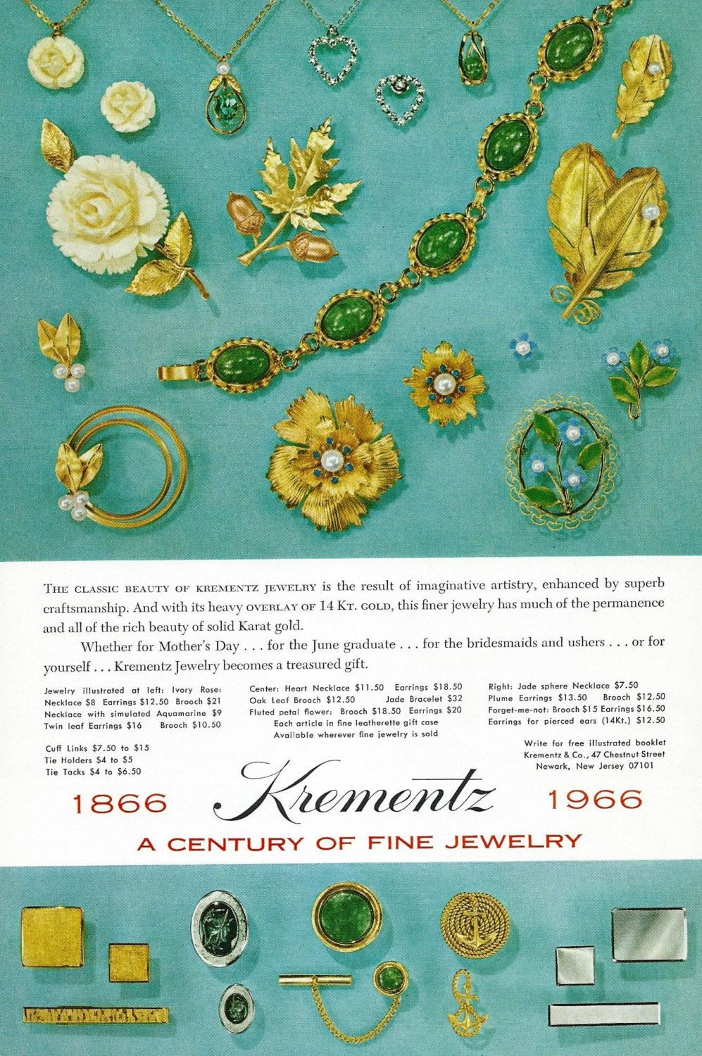 Vintage 1960s Jewelry Ad  Krementz Mod Cuff Links, Necklaces And Brooches   Men And