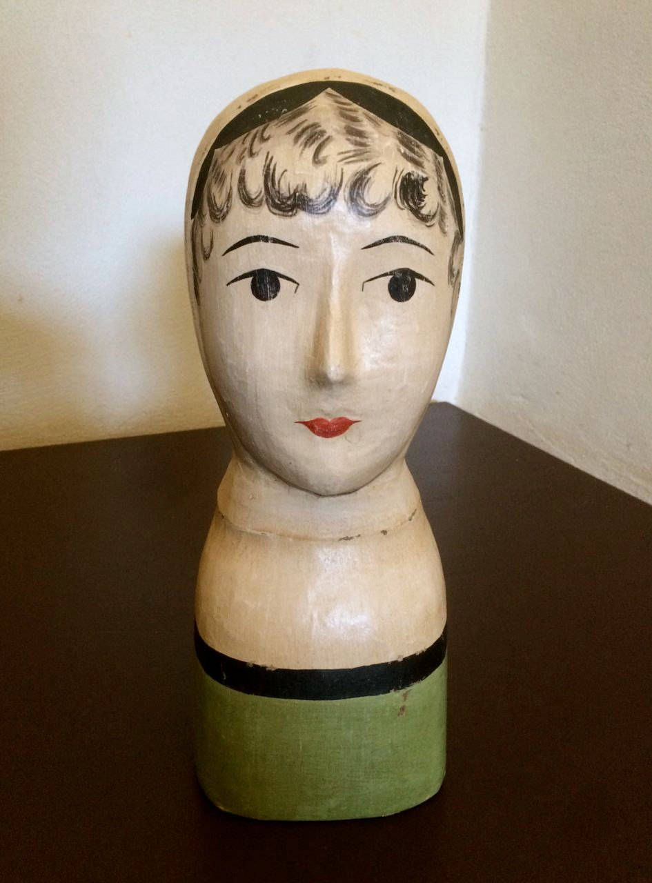 FRENCH HANDPAINTED MANNEQUIN Paper Mache Ladies' Hat Stand