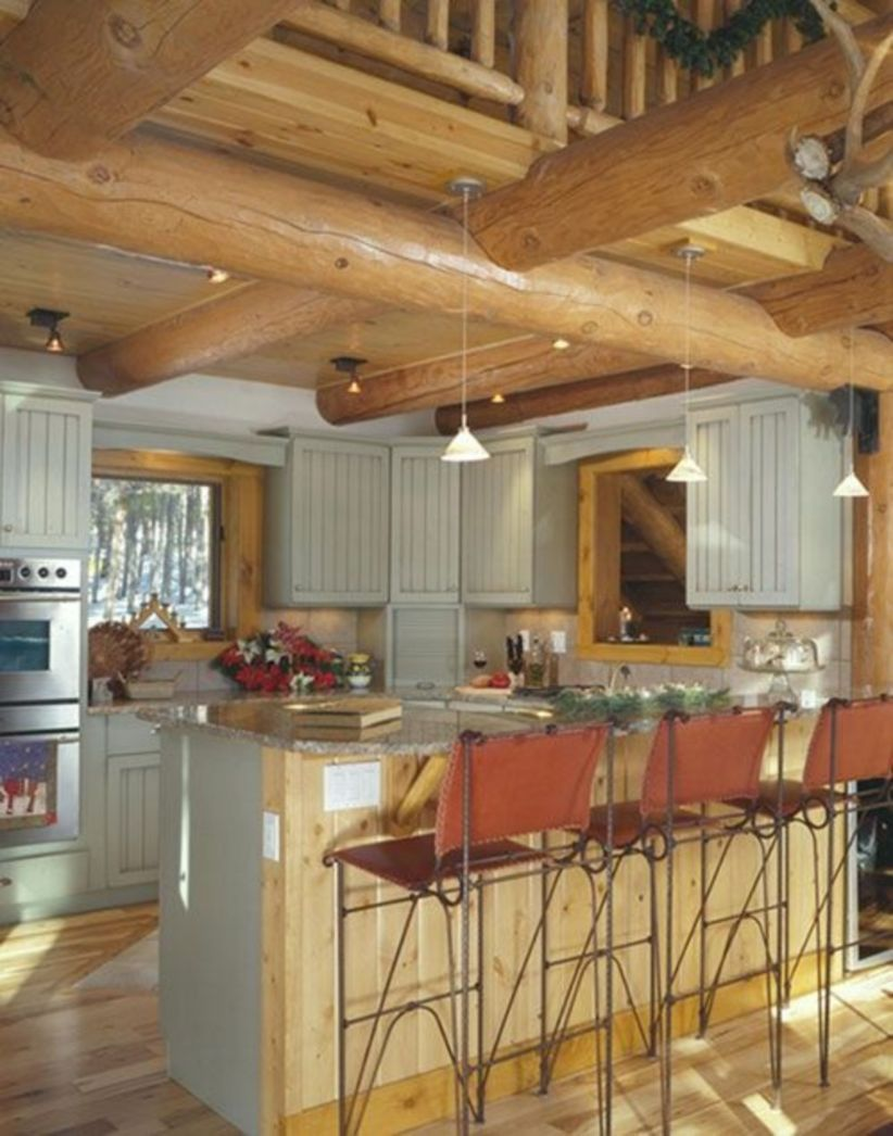 Splendid Tips To Create Your Dream Log Cabin Home In The Woods Or Next To A River A Necessity To Get Awa Log Home Kitchens Log Cabin Kitchens Log Home Kitchen