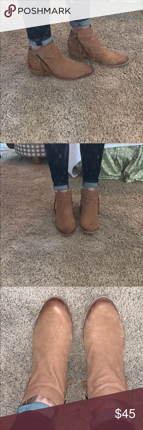 "aace686c425378 Sam Edelman Packer booties Side zip ankle bootie. Working zippers on both  sides. Almond toe. Heel height is 1.75"". Saddle leather. Worn a only few  times."