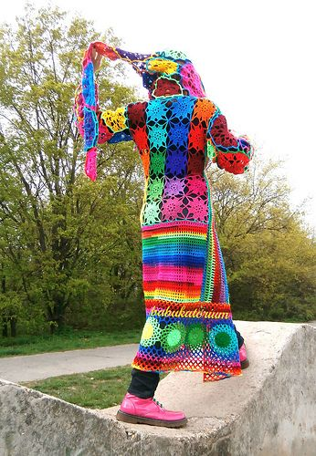 Kaleidocoat - Multicolor Multimotif Striped And Hooded Hippie Crochet Coat. By Babukatorium :)