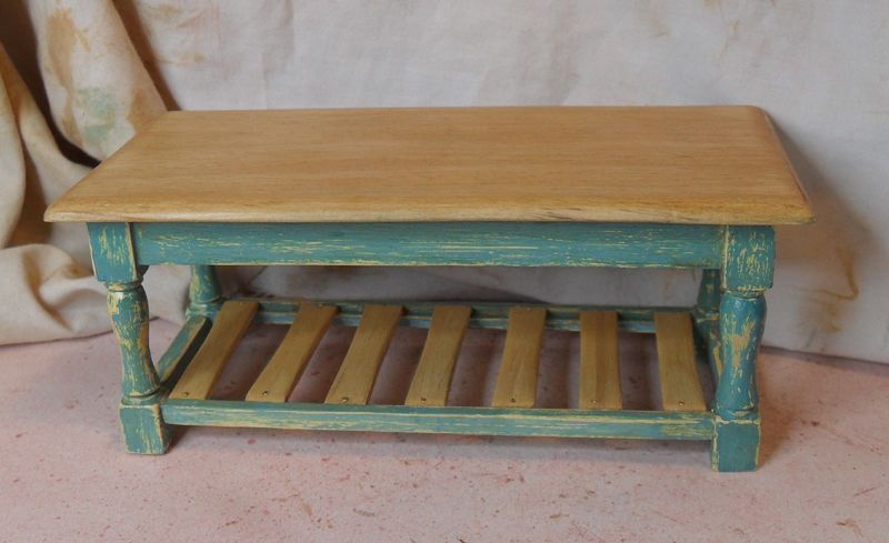 Shabby Chic/Distressed Blue Miniature Kitchen Table