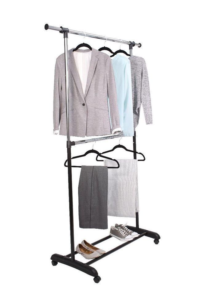 Tidy Living Adjustable 2 Tier Rolling Garment Rack Double Clothes Hanger Tidyliving Rolling Garment Rack Garment Racks Steel Wardrobe