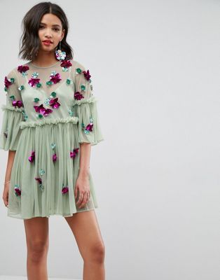 775c94c071ce ASOS Embellished Mesh Fluted Sleeve Smock Mini Dress | Wearables in ...