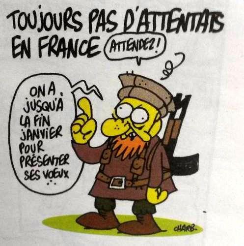 En direct - Charlie Hebdo : 12 morts, dont deux policiers -- Un attentat perpétré à Paris dans les locaux de l'hebdomadaire satirique Charlie Hebdo par deux hommes cagoulés et lourdement armés a fait au moins 12 morts, ce matin, bilan le plus meurtrier d'un attentat depuis au moins 40 ans en France.