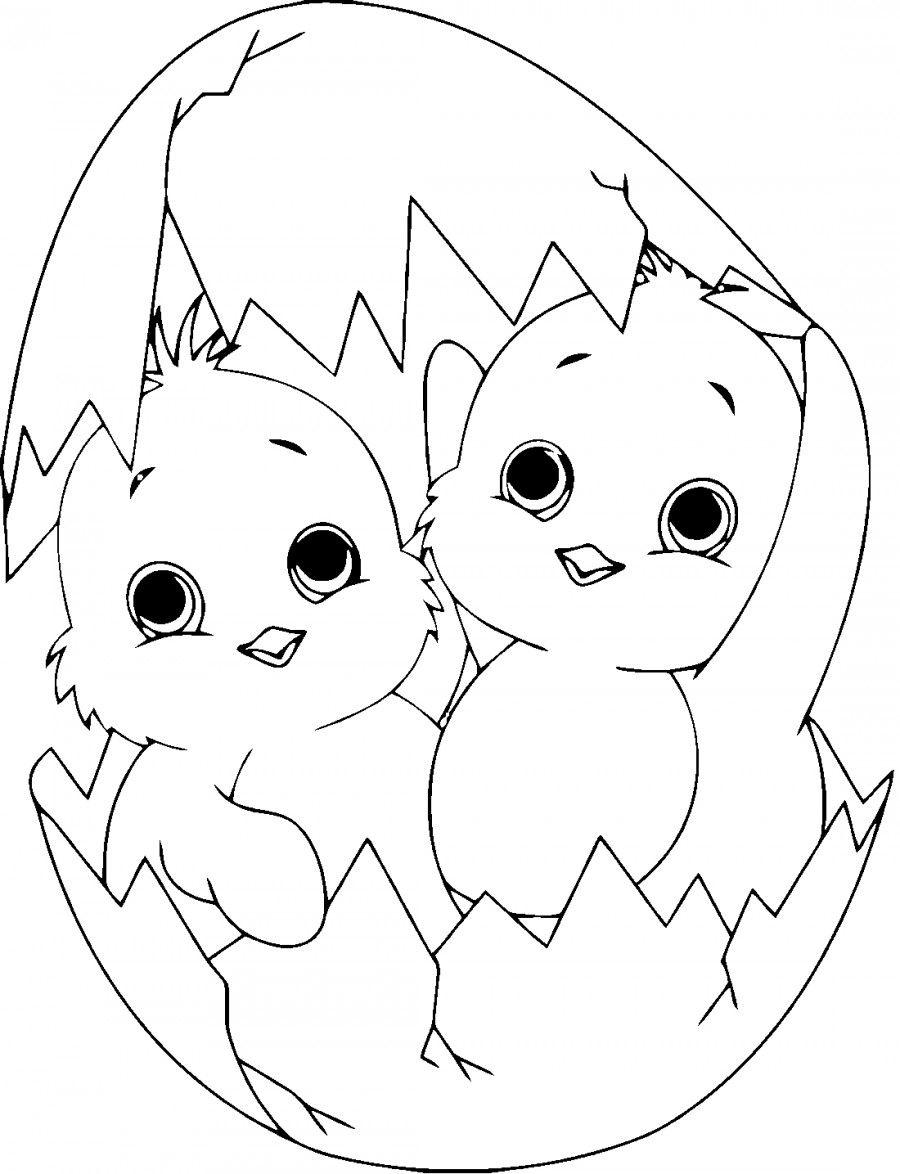 Два цыпленка - раскраска №1815 | Printonic.ru | Рисунки ...
