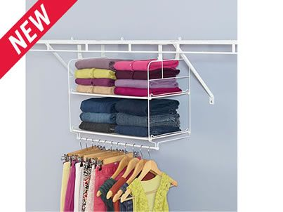 Closet Helper Shelf And Hang Unit Use In Fabric Bins Instead Of Open Shelves To Wring Paper Tissue Bows Etc