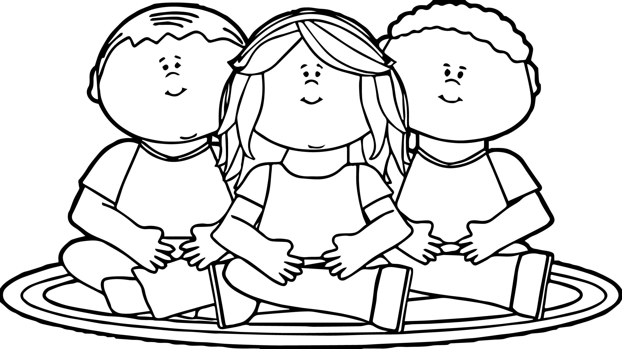 Kids Sitting On School Rug Kids We Coloring Page