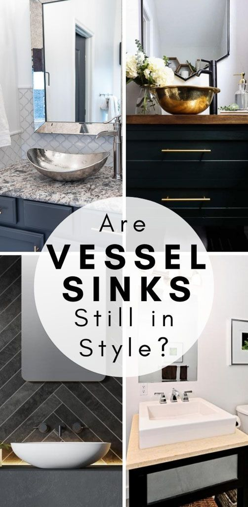 Find out if the vessel sink trend is on its way out or if this bathroom design is here to stay. #vesselsinks #vesselsinkvanity #bathroomsink #bathroomideas #sinkideas