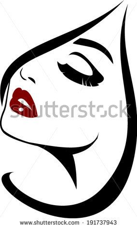 Beauty face icon with long lashes closeup