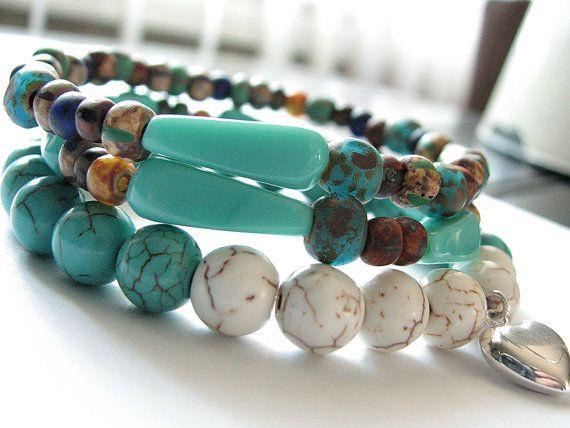 Stacking Bracelet  Turquoise Gemstone Stretch by DazzlingDezignz4U, $33.00 (bottom bracelet only - see listing for other bracelets)