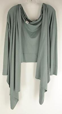 BCBG MAXAZRIA Womens Green Silk Cashmere Open Front Waterfall ...
