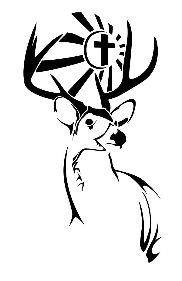 Black Cross And Tribal Deer Tattoo Design Deer Tattoo Designs Deer Tattoo Deer Graphic Design