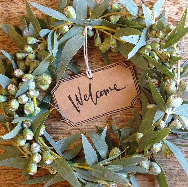 White Christmas Tree Decorations Australia: Welcome Wreath Made Of Gum Leaves By Pack A Perfect Party