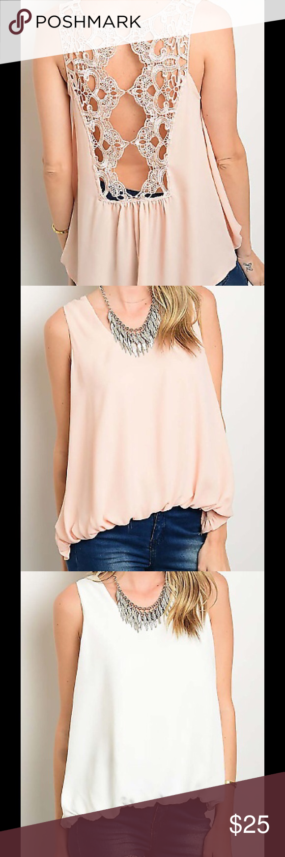 """SLEEVELESS CROCHET LACE BACK SOLID BLOUSE TOP SLEEVELESS CROCHET LACE BACK SOLID BLOUSE TOP Country: CHINA Fabric Content: 100% POLYESTER Size Scale: S-M-L Description: L: 25"""" B: 36"""" W:40 """" ColorWHITE,PEACH. Both colors are available Tops Blouses"""